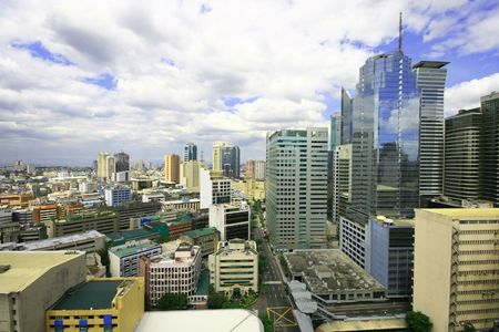 manila: colorful urban buildings at makati business area