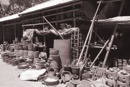 various shapes and sizes of hand made pottery