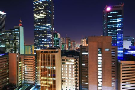 night scene at the  makati business district