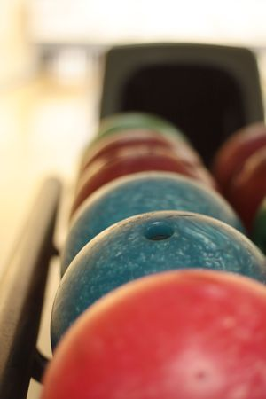 stack of colorful bowling balls  Stock Photo