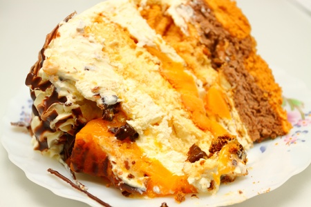a slice of delicious mango bravo cake