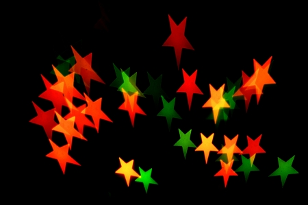 star shape multiple colored christmas lights  Stock Photo