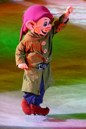 Philippines - December 26, 2012. Dopey dwarf in Disney On Ice: Princesses &  Heroes at Smart Araneta, Cubao Quezon City  Editorial
