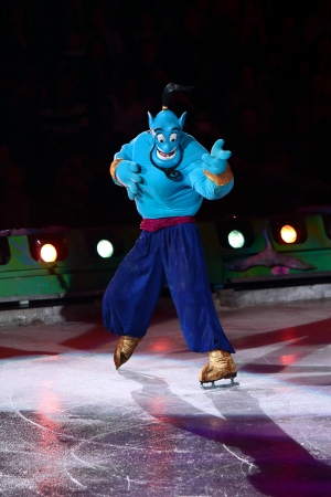 Philippines - December 26, 2012. Genie in Disney On Ice: Princesses &  Heroes at Smart Araneta, Cubao Quezon City