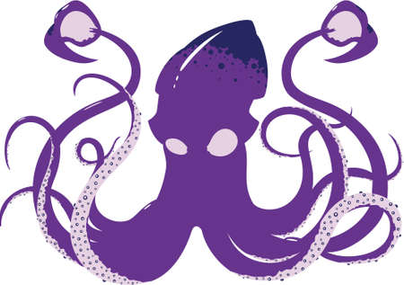 A menacing vector squid design showing all 8 arms and both tentacles  Illustration