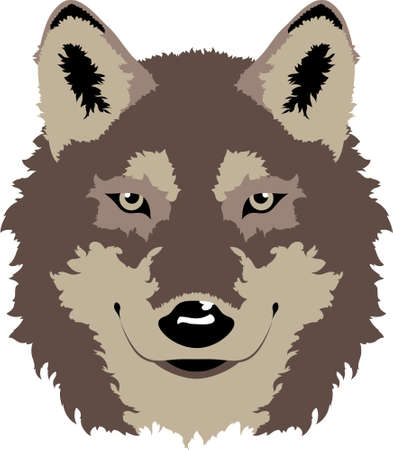A clean vector wolf head design   Can also be an option for school mascots and sports logos  Illusztráció
