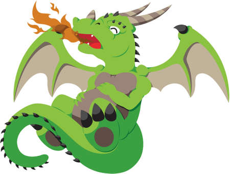 A cute vector baby dragon breathing fire for the first time  Illustration