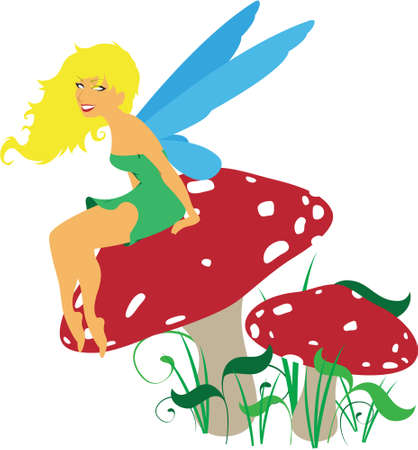 fairy toadstool: Vector forest fairy sitting on a mushroom toadstool scene  Illustration