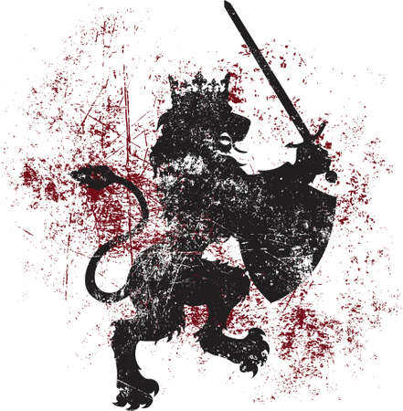 A kingly vector lion wearing a crown, while also wielding a shield and sword   Can be easily used as a t-shirt design, or for other forms of printing  Illustration