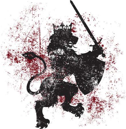 espadas medievales: Un le�n vector real con una corona, al tiempo que esgrimiendo un escudo y una espada puede ser f�cilmente utilizado como un dise�o de la camiseta, o por otras formas de impresi�n