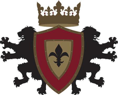 デザイン t シャツ デザインや印刷の他の形態の簡単に使用することができますデザインの上に座っている王冠古典的な紋章入りの盾の後ろに外側に直面する 2 つの対称的なライオンズ  イラスト・ベクター素材