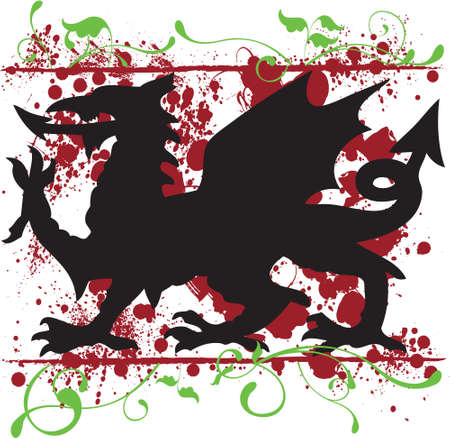 A heraldic Welsh Dragon vector surrounded by floral elements and splatter textures   The design can easily be used as a t-shirt design, or for other forms of printing  Vector