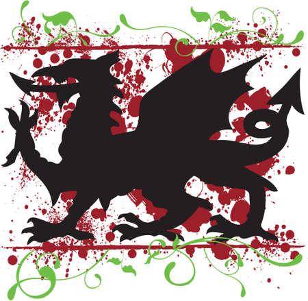 Een heraldische Welsh Dragon vector, omgeven door florale elementen en splatter texturen Het ontwerp kan eenvoudig worden gebruikt als een t-shirt ontwerp, of voor andere vormen van druk Stock Illustratie