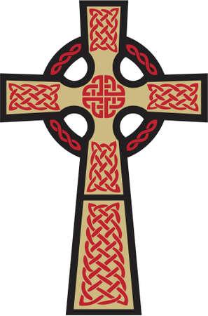 religious icon: Esta es una representaci�n muy cl�sica de la Cruz Celta. El oro, negro y rojo se puede cambiar f�cilmente a otro esquema de color.
