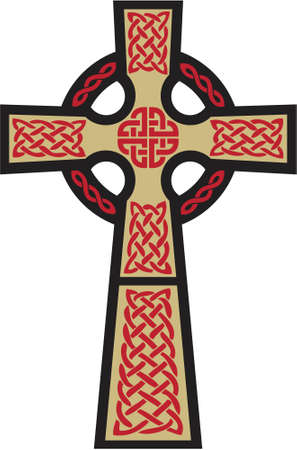 This is a very classic depiction of the Celtic Cross . The gold, black, and red can be easily changed to another color scheme.