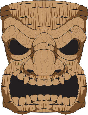 A wooden tiki carving based on the tropical tikis created by the people of the Polynesian Islands. Illustration