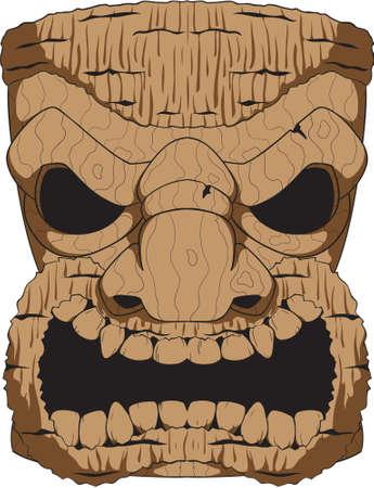 Een houten tiki snijwerk op basis van de tropische tikis gemaakt door de mensen van de Polynesische eilanden. Stock Illustratie