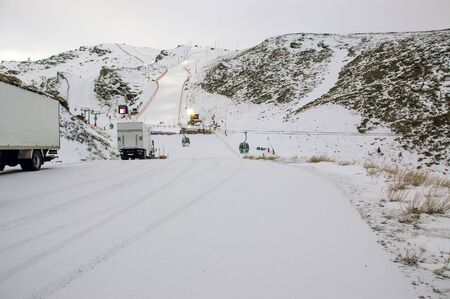 Snowy ski resort