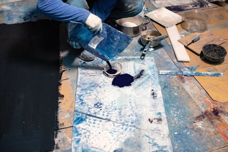 Plastic artist painter working in workshop