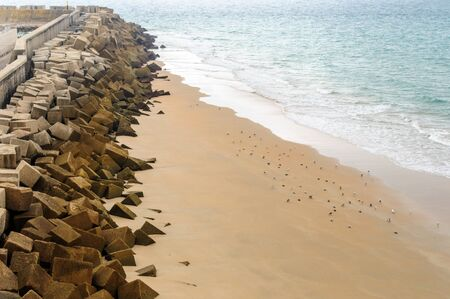 Beach shore with stones Foto de archivo