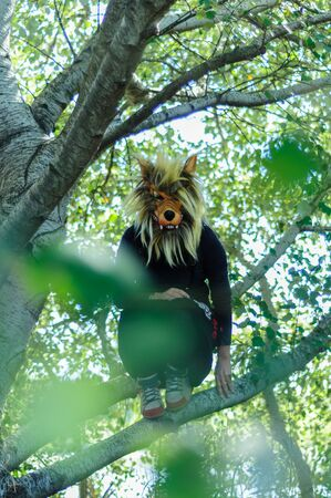 Woman in wolf mask and black dress Standard-Bild