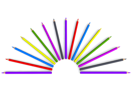 isoliert: crayon in semicircular with random colors Stock Photo