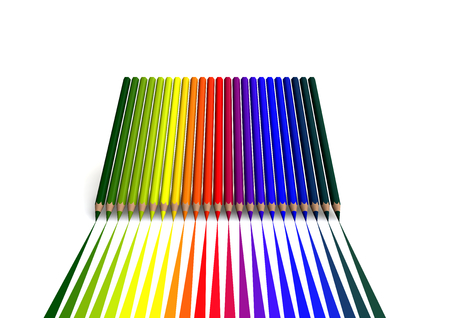 isoliert:  crayons with linear color trace