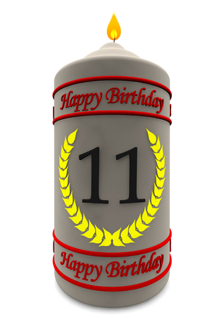 eleventh birthday: birthday candle with the age Stock Photo
