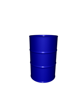 a blue metalic barrel with reflections