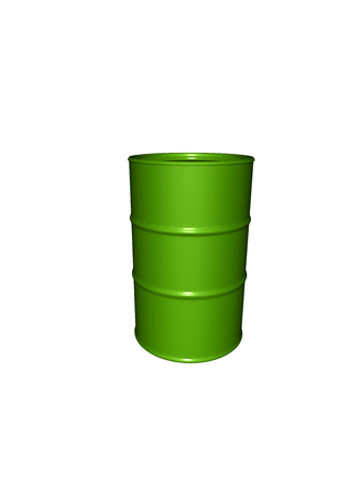 a green metalic barrel with reflections