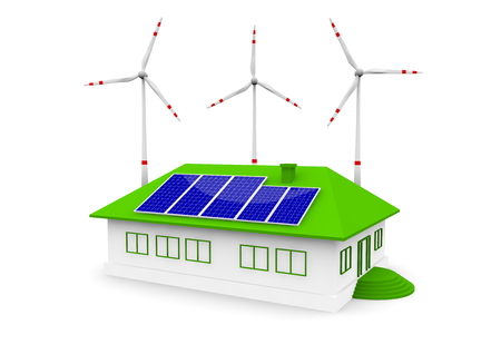 alternativ: a house this solar panel and wind turbine