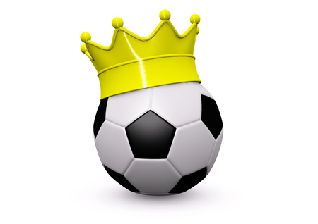 a soccer with a golden crown photo