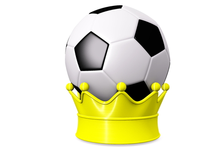 isoliert: a soccer with a golden crown Stock Photo