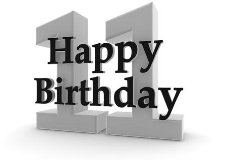 eleventh birthday: Happy Birthday with the age Stock Photo