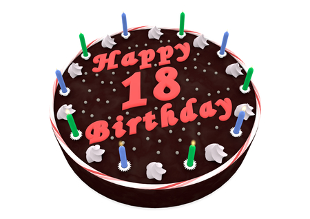 happy birthday 18: chocolate cake with Happy Birthday and the age Stock Photo