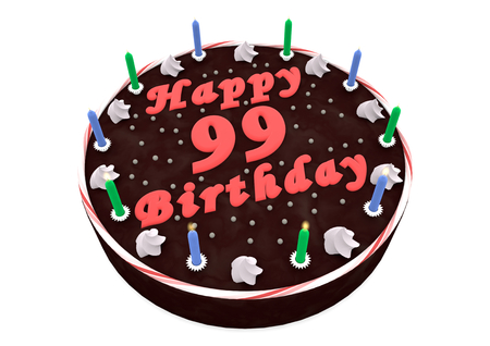 99: chocolate cake with Happy Birthday and the age Stock Photo