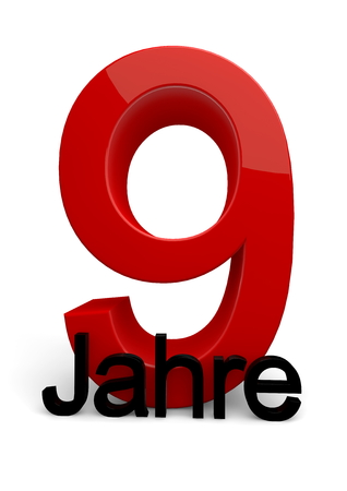 ninth birthday: a number with the caption Jahre