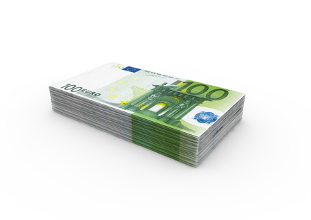 isoliert: a bundle of 100 Euro bank notes Stock Photo