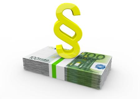 a bundle of 100 Euro bank notes with golden paragraph photo