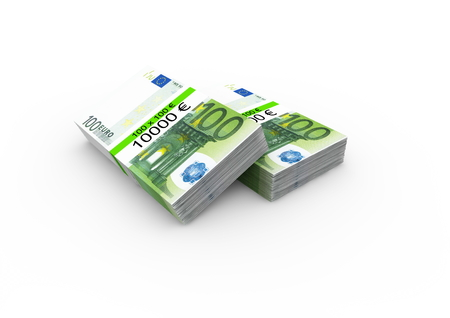 isoliert: two bundles of 100 Euro bank notes