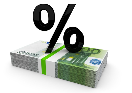 isoliert: a black percent on a bundle euro notes Stock Photo