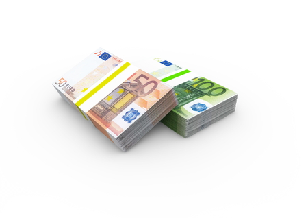 isoliert: two bundles  Euro bank notes with diffent value Stock Photo