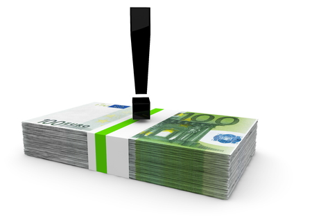 isoliert: a black exclamation mark on a bundle of euro notes Stock Photo