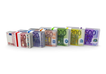 isoliert: euro notes with different value Stock Photo
