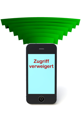 isoliert: phone in connection with the world  and lettering zugriff verweigert