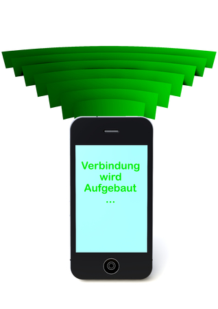phone in connection with the world  and lettering verbindung wird aufgebaut Stock Photo