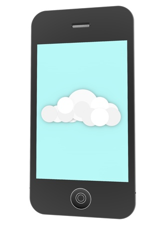a phone with a cloud photo