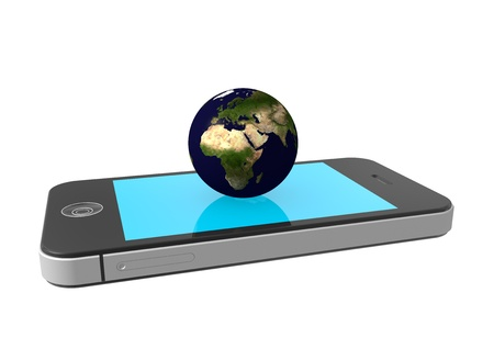 isoliert: the earth on a phone Stock Photo
