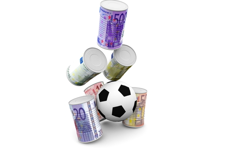 a soccer to shoot money cans photo