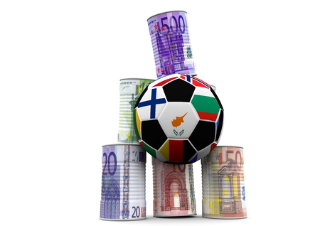 isoliert: a soccer to shoot money cans Stock Photo
